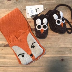 Other - Handmade wool owl mittens and fox scarf